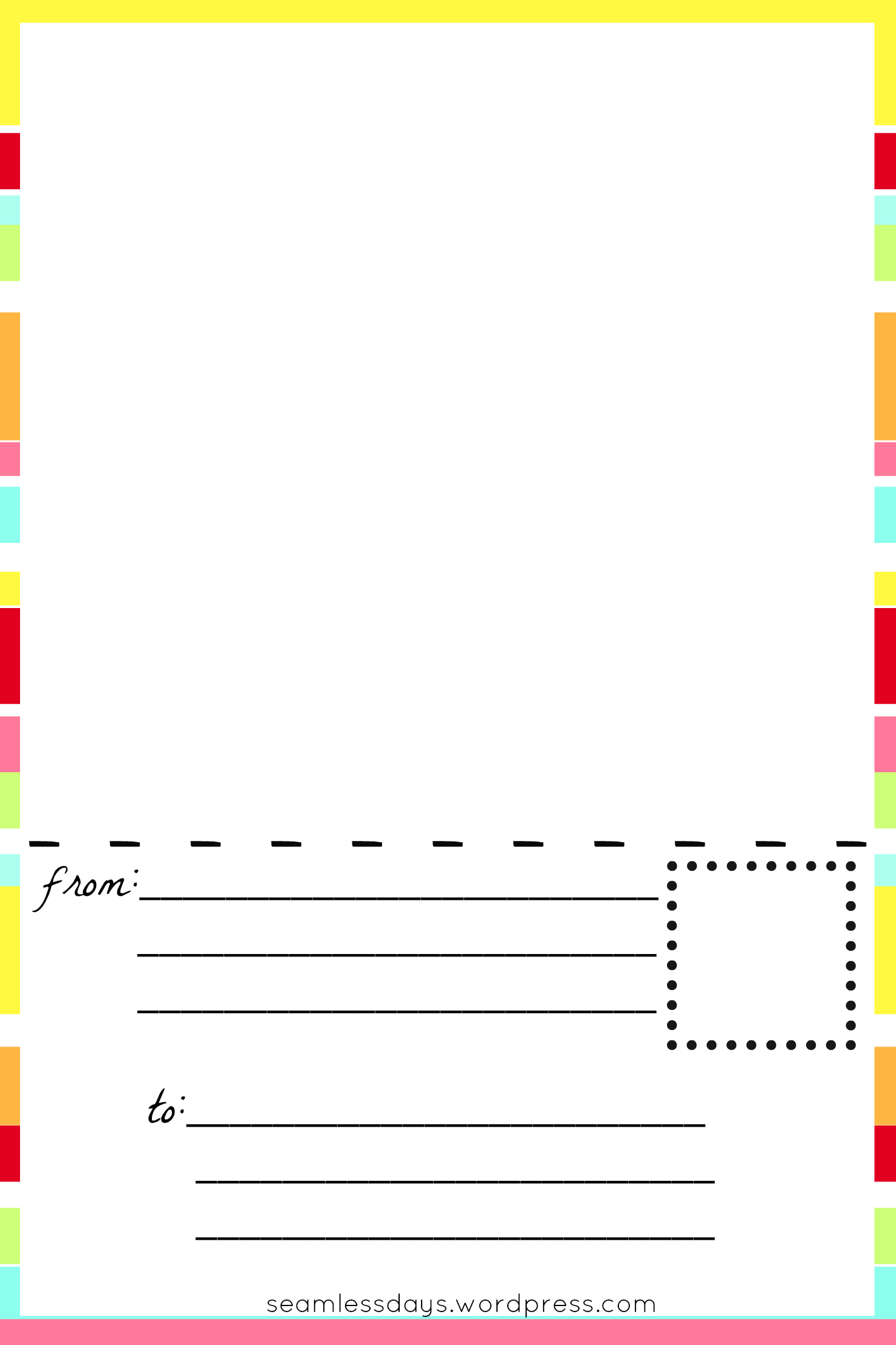 Free printable blank postcards for kids listening in the for Read write think postcard template